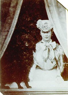 March 1865 - Elisabeth travels to Munich to fetch King Ludwig II from the trainstation. King Ludwig II his favourite court photographer was Josef Albert. Ludwig took his cousin to Alberts studio. He made a whole serie photos of Elisabeth with and whithout her dog. Inside the studio, in the courtyard and sitting in the window of the building.
