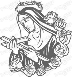 St Rita of Cascia vector for cutting plotter and engraving. Tattoo Outline Drawing, Doodle Art Drawing, Outline Drawings, Religious Pictures, Religious Art, Tatoo Santa, Sta Rita, Cherry Blossom Drawing, Sainte Rita