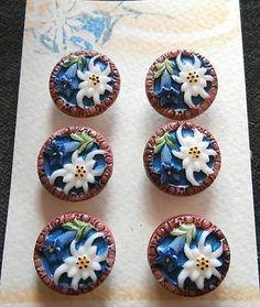 6 Czech Glass Antique (1920's) Buttons on Card #A892 - RARE!!!! EDELWEISS!!!!!!!