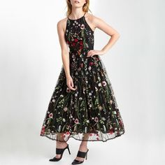 Tea Length Embroidered Floral Party Dress