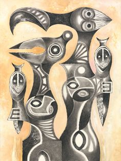 "TWO CUBISTAS HOLDING TOTEMS Charcoal pencil and gouache paint on watercolor paper. 18"" x 24"""
