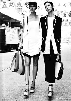 Kendra Spears and Tao Okamoto for Emporio Armani Spring 2012 #Coveted #StrawBoater #EmporioArmani #TaoOkamoto