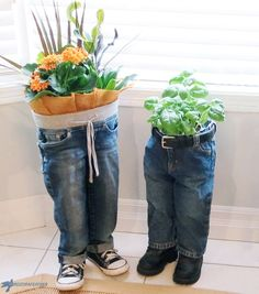 10 of the best ideas indoor garden upcycled planter pots for Earth Day including amazing Doll head planter, and denim jeans planters - enjoy! Jean Crafts, Denim Crafts, Diy Planters, Garden Planters, Planter Ideas, Indoor Garden, Container Garden, Planter Pots, Jeans Pants