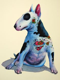 Nick Eggleston - Joy - watercolour on paper English Bull Terriers, Bull Terrier Dog, Animals And Pets, Funny Animals, Toy Yorkshire Terrier, Contemporary Art For Sale, Snoopy Images, Animal Paintings, Dog Art