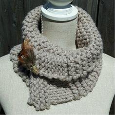 Women's Oatmeal Scarf by Hurd & Co. Chunky Knitwear, Merino Wool Blanket, Crochet Necklace, Knitting, Oatmeal, Handmade, Gifts, Accessories, Color