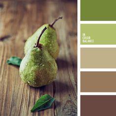 color bronceado, color pera, colores para la decoración, elección del color, marrón y verde, paletas de colores para decoración, paletas para un diseñador, pera verde, selección de colores, sepia, tonos cálidos, tonos claros de color marrón, verde pastel.