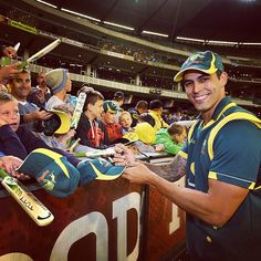 Mitchell Johnson signs autographs at the MCG after collecting three wickets against the West Indies #CommBankODI #AUSvWI