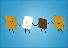 Smores - Best Friend Art Print by Jared Gase - X-Small Best Friends Cartoon, Friend Cartoon, Friends Illustration, Funny Illustration, Food Drawing, Drawing Stuff, Drawing Ideas, Funny Doodles, All Things Cute