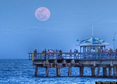 Supermoon over Anglin's Fishing Pier  Edward Oest:  Supermoon over Anglin's Fishing Pier, Lauderdale-by-the-Sea, Florida. E Oest