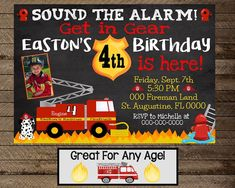 Check out our firefighter birthday invitation boy selection for the very best in unique or custom, handmade pieces from our invitations & announcements shops. Chalkboard Invitation, Birthday Chalkboard, Invite, Fireman Party, Firefighter Birthday, Birthday Party Decorations, Party Themes, Party Ideas, Boy First Birthday