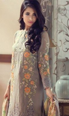 FULL EMBROIDERY Designer 3PC CHIFFON Suit With CHIFFON Dupatta
