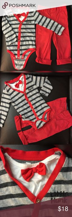 koala kids baby boy little hunk onesie&trouser Little hunk outfit looks really nice on baby baby's , may be a pre buy for coming valentines or a party / birthday or special occasion . It's very cute . Worn couple of times gently . In good condition.. ❤️❤️ Koala Kids Matching Sets