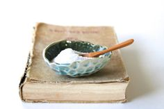 Sea Salt Cellar - Green Blue Coral Ceramic Shell Bowl - Modern Home Decor Dinnerware - OOAK - Ready to Ship