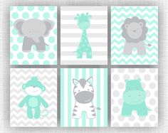 Mint and Gray Jungle Animals nursery Printable, Elephant Giraffe Hippo Lion Monkey Zebra, Jungle Animals Set of 6, 8x10, INSTANT DOWNLOAD
