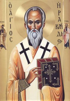 Icon of St. Herakleidios (and Sts. Paul and Barnabas) from the Monastery of the same name, painted by the fathers of Vatopaidi Monastery Byzantine Art, Byzantine Icons, Human Life Cycle, Beautiful Morning Messages, Paul The Apostle, Greek Icons, Ephesus, Early Christian, Art Icon