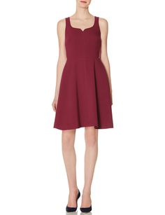 Sleeveless Skater Dress - A substantial fabric takes this year-round silhouette into colder months! The notched neckline boosts feminine appeal, while the skirt gracefully swings in a comfortably tasteful length.