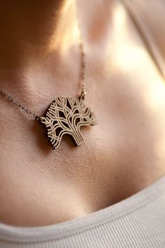Oakland Tree Laser Cut Bamboo Pendant by AntietamDesigns on Etsy, $28.00