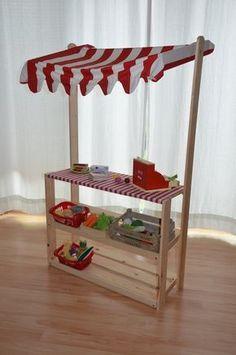 DIY: Kaufmannsladen Markstand für Kinder selber bauen + Einkaufsliste