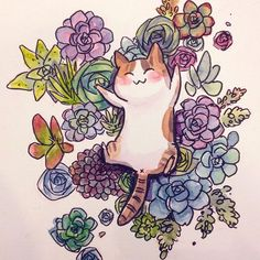 cat and succulents by Carrie L (cisforfrenchfry)