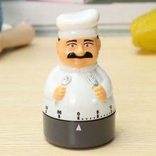 Tío Gadget de Chef de Cocina Reloj Despertador Temporizador Analógico Dial Plástico Campana de 60 Minutos Para Cocinar Utensilios de cocina Cocinero Comida Casera(China)