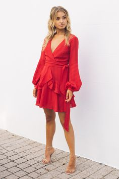 Esther Boutique, Hey Gorgeous, Wrap Dress, Dress Red, Stretch Fabric, Hemline, Outfit Of The Day, Clothes For Women, Skirts