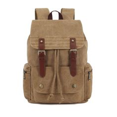 KAUKKO Men School Canvas Big Retro Satchel Black Khaki Green Backpack  Worldwide delivery. Original best quality product for 70% of it's real price. Hurry up, buying it is extra profitable, because we have good production sources. 1 day products dispatch from warehouse. Fast & reliable...