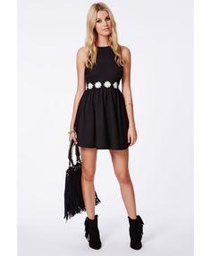 Allyn Daisy Waistband Skater Dress - Dresses - Skater Dresses - Missguided