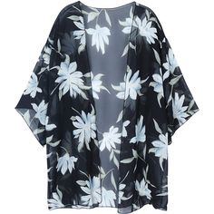 Women Sexy Floral Printed Bikini Cover Up Chiffon Cardigan Blouse... ($12) ❤ liked on Polyvore featuring swimwear, cover-ups, floral bikini, chiffon beach cover up, sexy bikini, sexy swim cover up and swim cover up