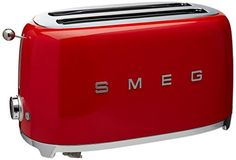 Retro Style Aesthetic 4 Slice Toaster Powder coated steel body with Stainless steel ball lever knob. Features include Self-centring racks, Automatic slice pop up and Removable stainless steel crumb tray. Red 4 Slice Toaster, Kettle And Toaster Set, Retro Kitchen Appliances, Retro Kitchen Decor, Specialty Appliances, Indoor Electric Grill, Electric Grills, Vintage Toaster