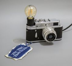 Camera Lamp Retro Industrial Unique Upcycled Zorki 4 Russian Film SLR Light Eco 0.5W Led Bulb. Free gift sale 10% on next order
