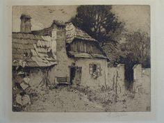 Original etching with aquatint Luigi Kasimir 1907 - Title 'Pettau'