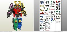 Papercraft .pdo file template for Power Rangers - Samurai Megazord.