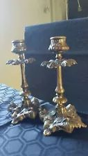 Vintage Antique Brass Candlestick Holders Matching Pair