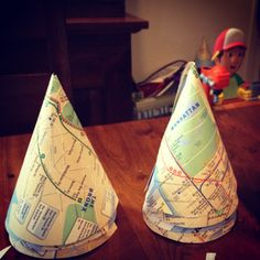 Party hats I made from free subway maps.