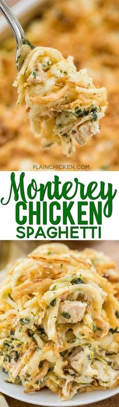 Monterey Chicken Spaghetti Casserole - my whole family went crazy over this easy chicken casserole!! Even our super picky eaters! Chicken, spaghetti, sour cream, cream of chicken, spinach, Monterey Jack Cheese, and french fried onions. Makes a great freezer meal! This is the most requested dinner in our house. #casserole #chickendinner #chickencasserole #chickenrecipes