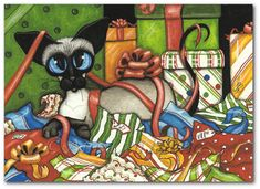 Print from one of my Original Paintings ~ AmyLyn Bihrle ●•٠·˙ Siamese Series #388 Title: Gift Wrap & Ribbon Fun °º*♦*°°¨¨¨¨¨¨¨°º*♦*º°¨¨¨¨¨¨¨°º*♦*º° ● Sizes available- Use drop down menu for prices or to purchase: (Prints) - 5x7 Inches - 8x10 Inches - 8.5x11 Inches - 11x14 Inches (Matted Prints) - 5x7 Matted to fit 8x10 Inch Frame - 8x10 Matted to fit 11x14 Inch Frame ACEOs are available to purchase here: https://www.etsy.com/listing/233666431 °º*♦*°°¨¨¨¨¨¨¨°º*♦*º°...