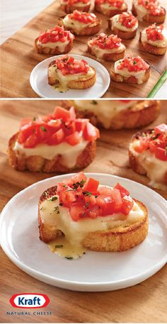 Di Formaggio – This classic bruschetta recipe, with toasted garlic French bread slices topped with fresh mozzarella cheese, tomatoes and oregano, is ideal for summer parties. Plus, this Italian-inspired appetizer is ready in just 25 minutes. Bread Appetizers, Yummy Appetizers, Appetizers For Party, Appetizer Recipes, Italian Appetizers Easy, Quiche Recipes, Bruchetta Recipe, Food Platters, Snacks