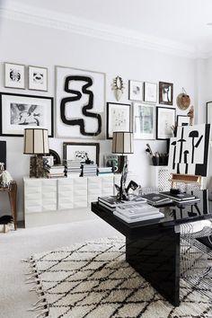 Gallery wall in the striking home office of Dane, Malene Birger. Photo - Birgitta Wolfgang / Sisters Agency.