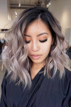 18 medium long hairstyles for thick hair – hair style for women Ombre Hair Long Bob, Ombre Hair Color, Hair Color Balayage, Hair Highlights, Ash Blonde Balayage Short, Ash Brown Balayage, Hair Color Asian, Ashy Blonde Hair, Black To Blonde Hair
