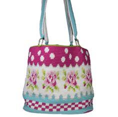 Mochila tas met rozenpatroon als haakpakket