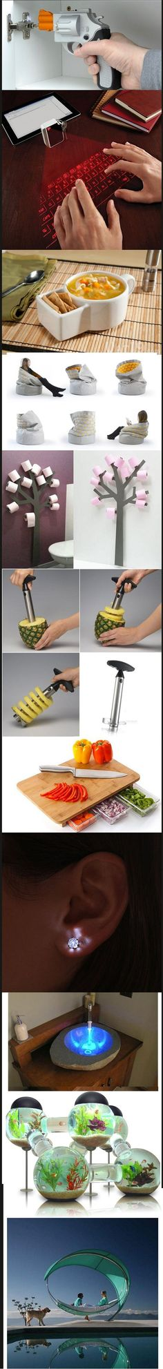 Super duper cool inventions. I WANT the tp tree and fish tank!