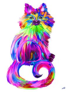 A colorful rainbow finger painted cat