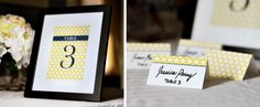 Pretty printable table numbers and place cards for events