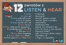 Powszechne zwroty z listen i hear - Loip Angielski Online Learn Polish, Polish Language, Perfect English, Education English, English Words, English Vocabulary, Study, Sayings, Learning