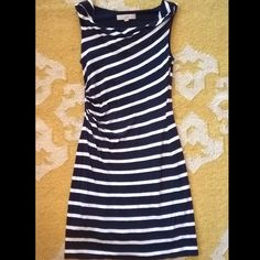 """Loft Navy and White Striped Dress, size S/XS Loft Navy and White Striped Dress, size S/XS. Tag says small but I think it is more of a small. Super soft and comfortable. Laying flat, waist is 12"""" and is 34"""" from top to bottom. LOFT Dresses"""