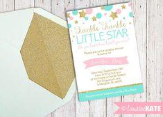 Twinkle Twinkle poco estrellas bebé ducha 5 x 7 invitación - archivo Digital personalizado - rosa y brillantes oro