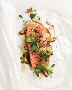 Sesame Salmon with Shiitake Mushrooms and Pea Shoots.