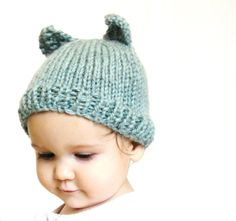 handknit baby hat and photo prop  aqua blue by BaruchsLullaby, $24.00