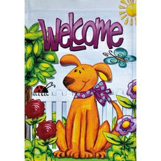 Welcome spring with this cute puppy!  Rain or Shine�18-in x 12.5-in Dogs Flag- available in garden size only!