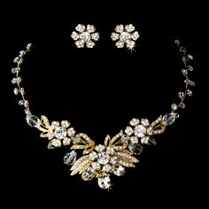 Gold Clear Necklace Earring Set 6508